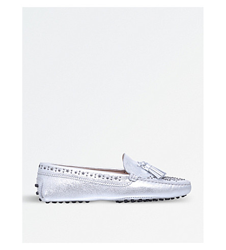 TODS Gommini Stars metallic-leather loafers (Silver