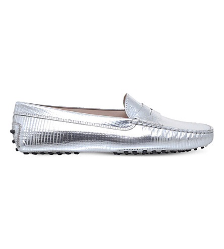 TODS Gommino leather driving shoes (Silver