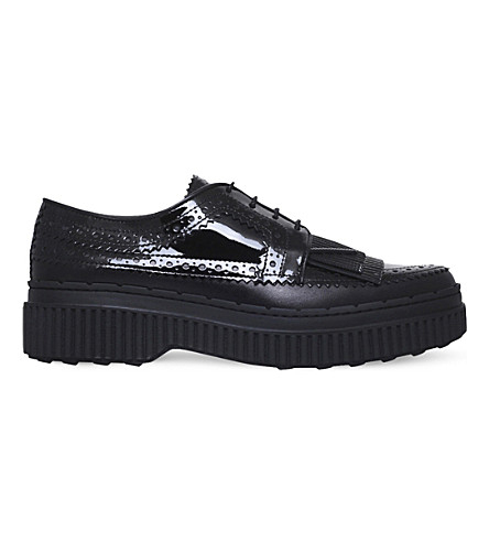TODS Oxford brogue patent leather creepers (Black
