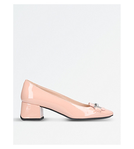 TODS Doppia patent-leather courts (Nude