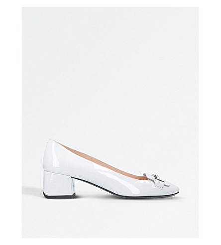 TODS Doppia patent leather block heels (Silver