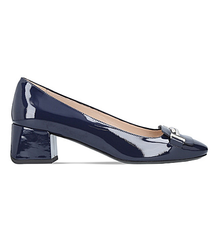 TODS Doppia patent leather block heels (Navy