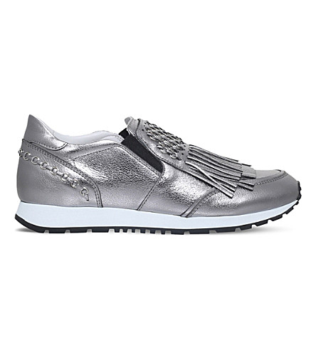 TODS Sportivo fringe leather metallic trainers (Silver
