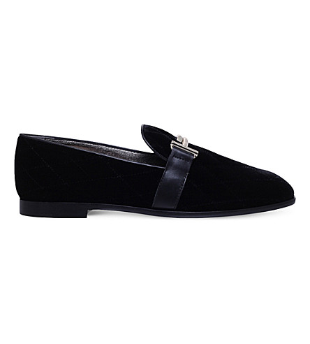 TODS Cuoio Dopia T velvet and leather slippers (Black