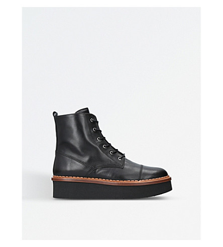 TODS Gomma leather flatform boots (Black