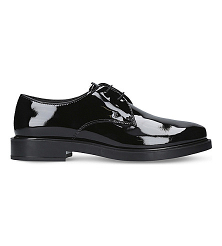 TODS Gomma Allacciata patent-leather Derby shoes (Black