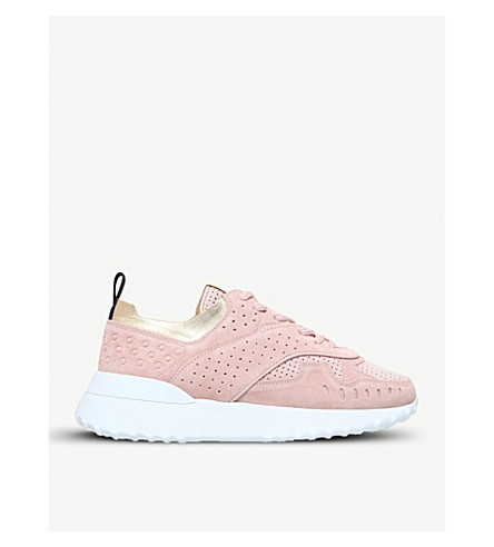 TODS Perforated suede trainers (Pale+pink