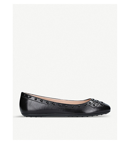 TODS Borchie studded leather flats (Black