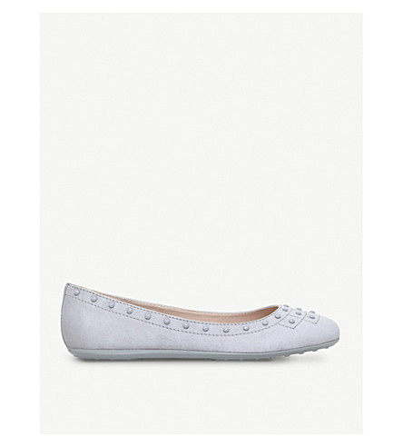 TODS Borchie studded leather flats (Grey