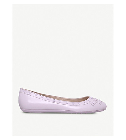 TODS Borchie studded leather flats (Lilac
