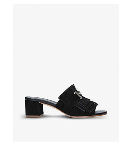 TODS Gomma fringed suede mules (Black