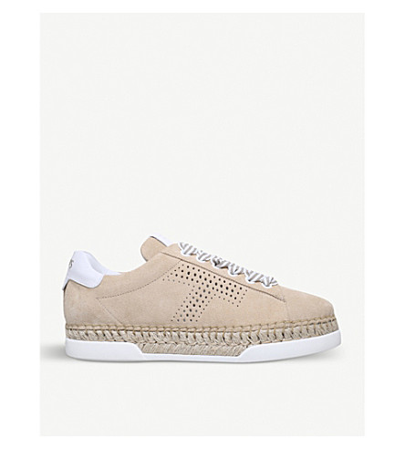 TODS Flatform suede and jute trainers (Blk/grey
