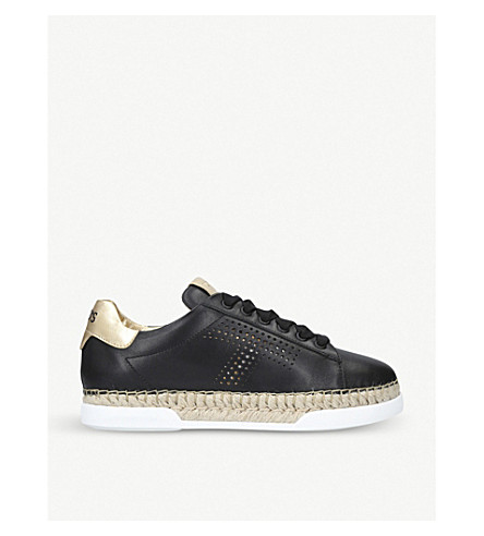TODS Flatform leather and jute trainers (Black/comb