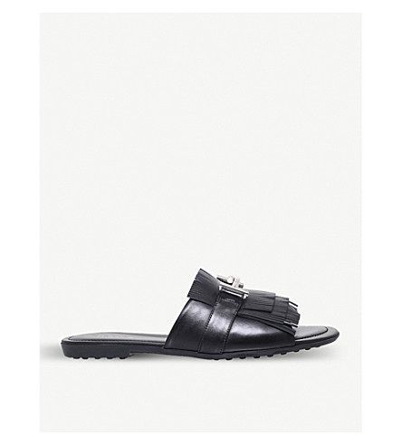 TODS Gomma fringed leather backless mules (Black