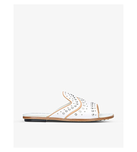 TODS Gommini studded leather sandals (White/oth