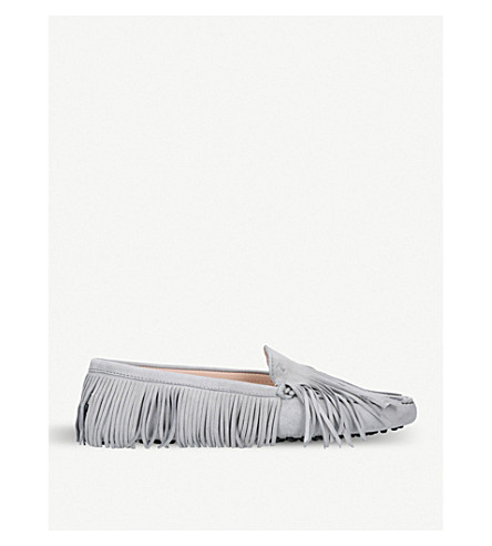 TODS Gommini multi-fringe suede moccasins (Grey