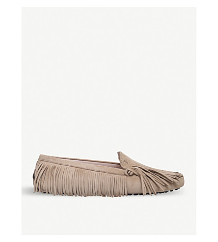 TODS Gommini multi-fringe suede moccasins (Mid+brown