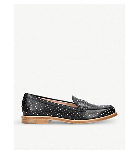 TODS Borchie studded leather moccasins (Black