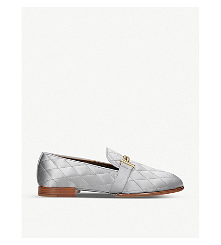 663524d99f1 TODS Double T quilted-satin loafers (Grey