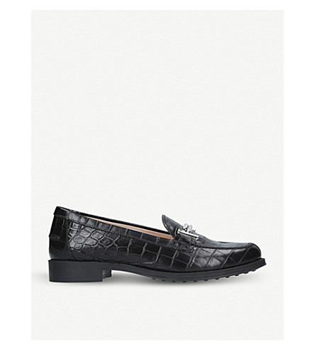 TODS Crocodile-print leather loafers (Black