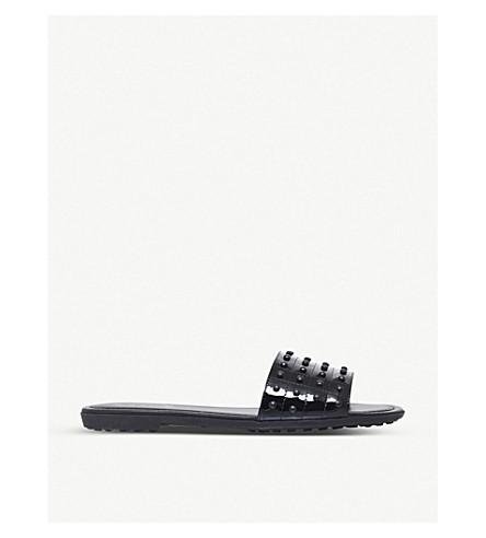 TODS Sand Gomma patent leather sliders (Black