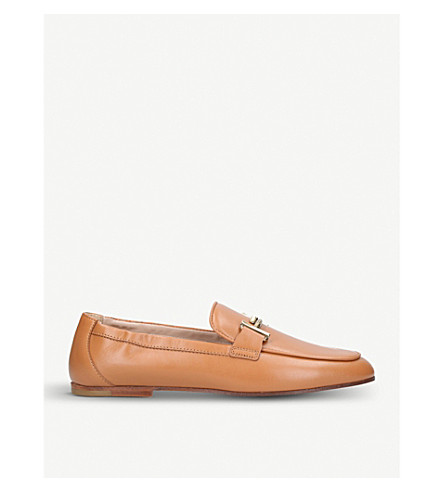 TODS T leather elastic-heel loafers (Nude