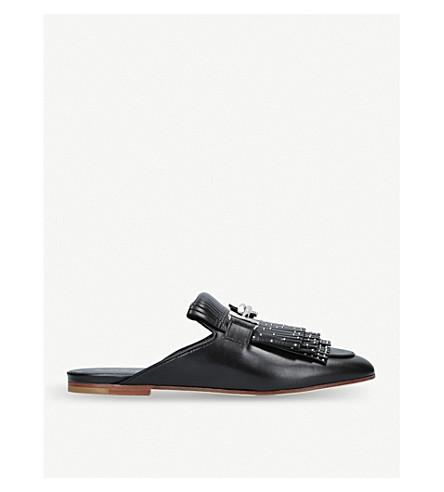 TODS Fringe studded leather mules (Black