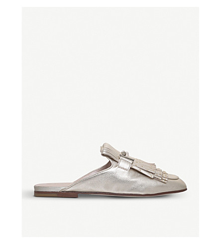 TODS Fringed studded metallic-leather mules (Gold