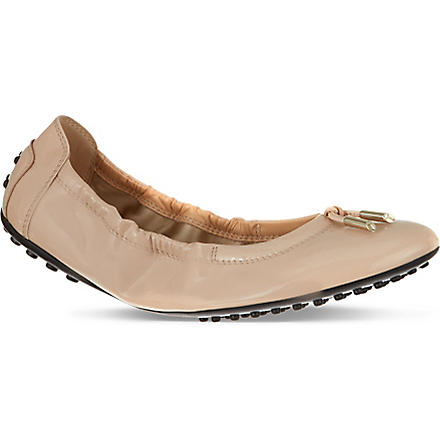 TODS Patent Leather Ballerinas (Nude