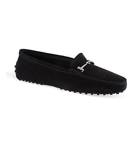 TODS Gommino Heaven horsebit loafers in suede (Black