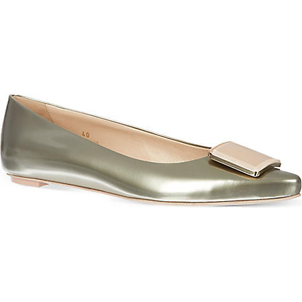 TODS Leather metallic pumps (Silver