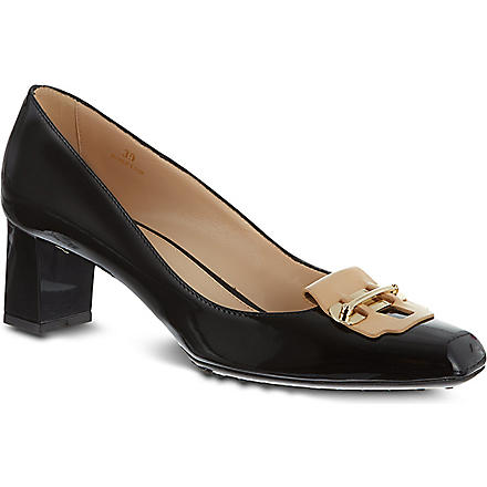 TODS Patent Leather Pumps (Blk/beige