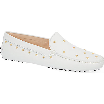 TODS Gommino moccasin leather driving shoes (White
