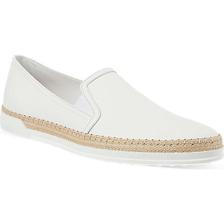 TODS Leather Slip-ons (White