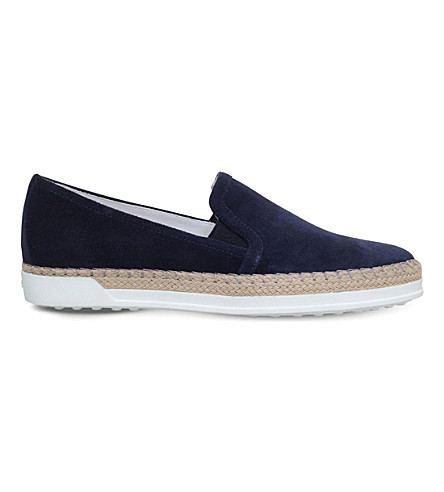 TODS Gomma Rafia suede slip on trainers