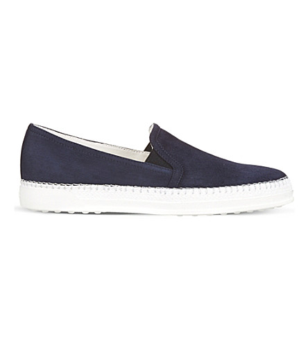 TODS Suede Slip-ons (Navy