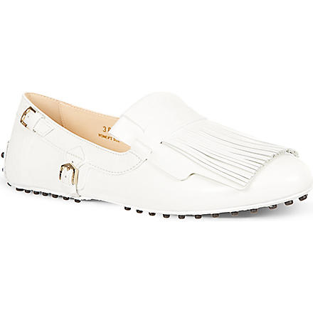 TODS Gommino Ballerinas in Leather (White