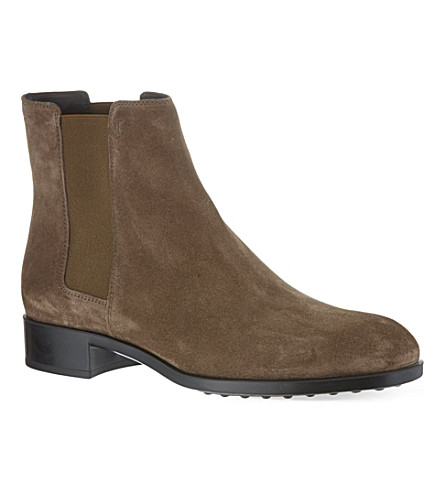 TODS Gomma ankle boots in suede (Taupe