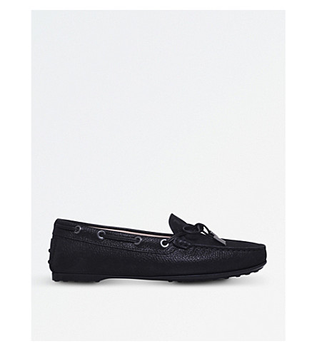 TODS Gomma grained-leather loafers (Black