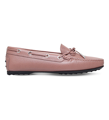 TODS Gommino grained-leather loafers (Pale+pink