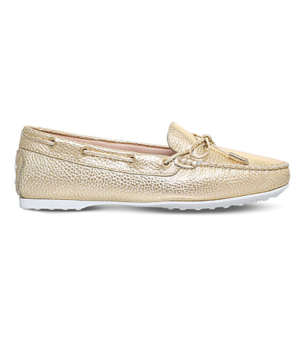 TODS Gomma metallic-leather lace-up loafers