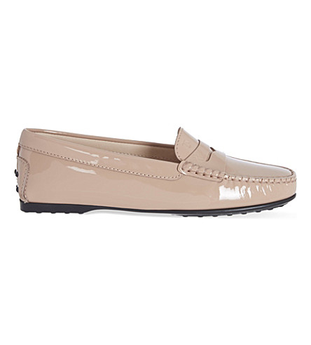 TODS Gomma LU patent moccasins (Nude