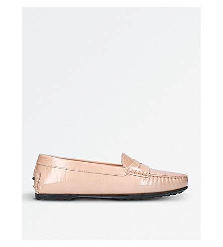 TODS Gomma patent leather moccasins (Beige
