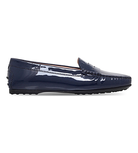 TODS Gomma patent leather driving shoes (Navy