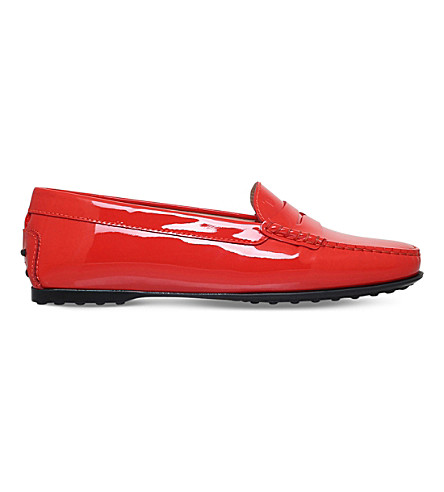 TODS Gomma patent leather penny loafers