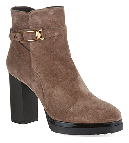 TODS Gomma suede heeled ankle boots (Taupe