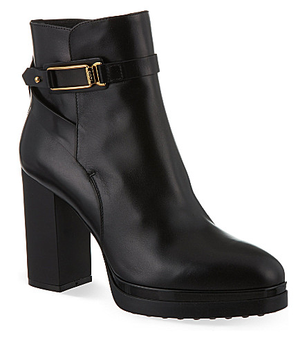 TODS Gomma leather heeled ankle boots (Black
