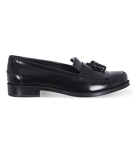 TODS Gomma leather fringe loafers (Black