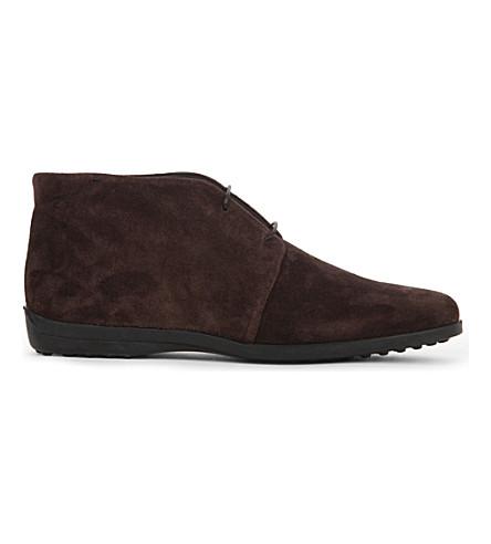 TODS Polacco 麂皮沙漠靴 (深色 + 棕色