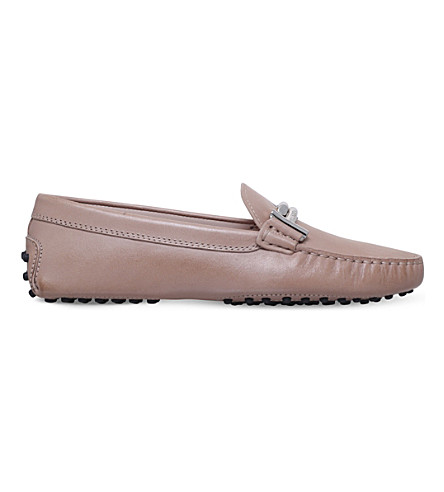 TODS Gommini maxi leather driving shoes (Beige